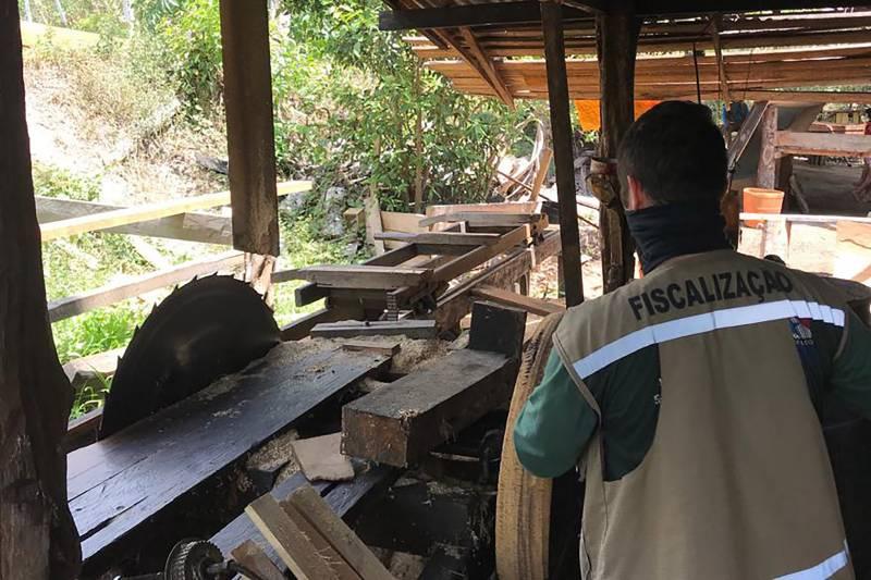 ntre os crimes flagrados pela Semas e BPA, destaque para o funcionamento ilegal, em Bagre, de uma serraria que foi interditada